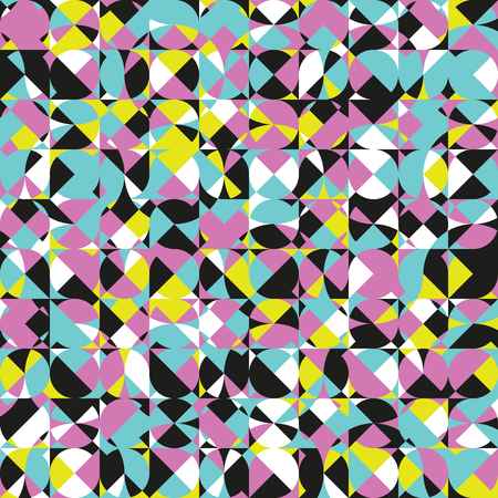 computational: Modern colorful geometric seamless pattern. Abstract texture with intersecting shapes. Eternal background with random ornament. Element of design.