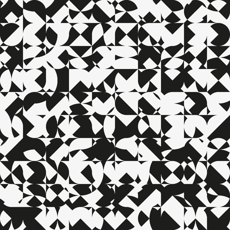 computational: Modern geometric monochrome seamless pattern. Abstract texture with intersecting shapes. Eternal background with random ornament. Element of design.