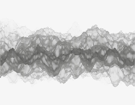 Segmented vector radio wave. Advanced digital music visualization. Detailed audio data analytics. Monochrome illustration of sound frequencies. Element of design. Illustration