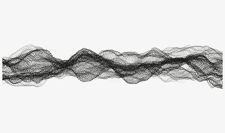gauze: Abstract wavy structure made of shuffled round particles. Swarm of dots. Random rippled monochrome curved shape. Modern vector illustration. Element of design.