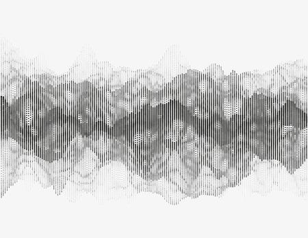 sonic: Segmented vector radio wave. Advanced digital music visualization. Detailed audio data analytics. Monochrome illustration of sound frequencies. Element of design. Illustration