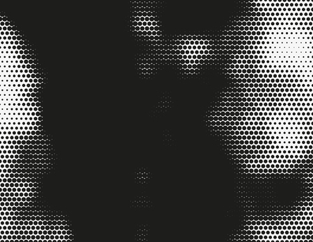 murky: Black and white vector halftone background. Modern monochrome illustration. Chaotic abstract shapes. Grid of dots with different size. Graphic gradient made of round particles. Element of design. Illustration