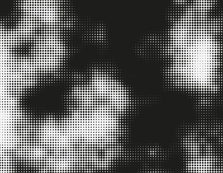 erosion: Black and white vector halftone background. Modern monochrome illustration. Chaotic abstract shapes. Grid of dots with different size. Graphic gradient made of round particles. Element of design. Illustration