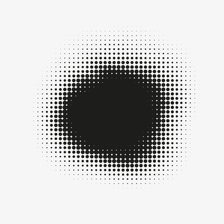 Abstract vector halftone stain. Black blot made of round particles. Modern illustration with dark, murky spot. Splattered array of dots. Gradation of tone. Element of design. Illustration
