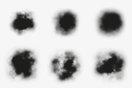 murky: Set of abstract vector halftone stains. Black blots made of round particles. Modern illustration with dark, murky spots. Splattered array of dots. Gradation of tone. Elements of design.