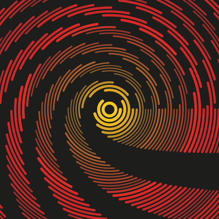 fluorescence: Colorful dark hypnotic illustration.  Concentric round geometric composition. Asymmetric curved lines of different color, radius and weight.