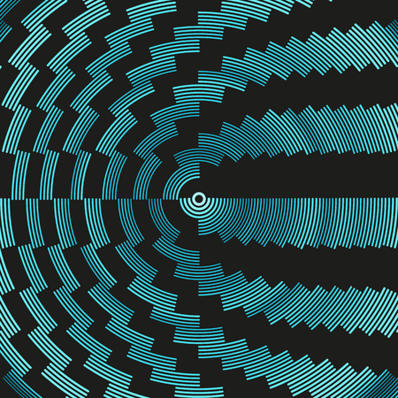 Colorful dark hypnotic illustration. Multiple psychedelic outline arcs. Concentric round geometric composition. Asymmetric curved lines of different color, radius and weight. Illustration