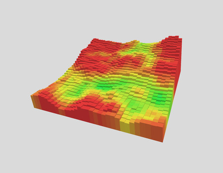 Colorful 3d voxel landscape. Heatmap surface made of rectangular blocks. Cubical model of futuristic game terrain. Hue data visualization. Modern abstract vector illustration. Element of design.