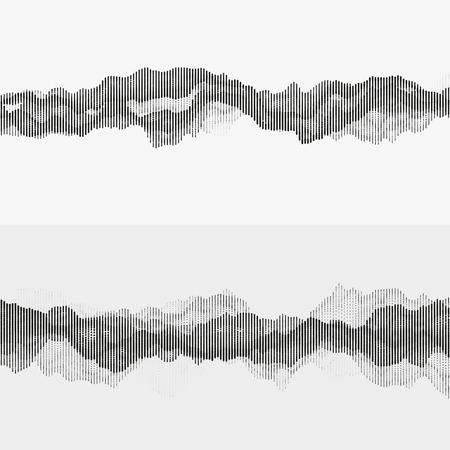 セグメント化されたベクトル オーディオ波。デジタル音楽の可視化を高度な。音の周波数の白黒イラストです。デザインの要素です。