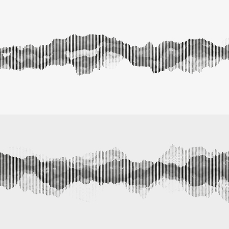 Segmented vector audio waves. Advanced digital music visualization. Monochrome illustration of sound frequencies. Element of design. Иллюстрация