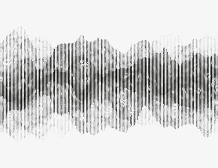 Segmented vector radio wave. Advanced digital music visualization. Detailed audio data analytics. Monochrome illustration of sound frequencies. Element of design. Illustration