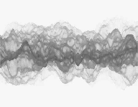 Segmented vector radio wave. Advanced digital music visualization. Detailed audio data analytics. Monochrome illustration of sound frequencies. Element of design. Ilustrace