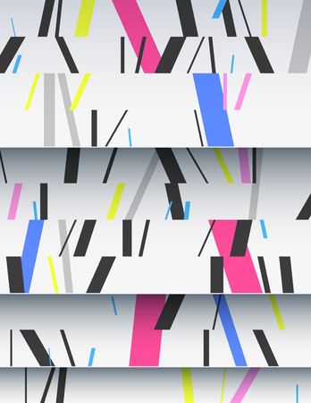 asymmetrical: Creative Cascade of realistic cardboard sheets with mixed diagonal sticks. Colorful background illustration. Vertical template for a poster or cover. Element of design.
