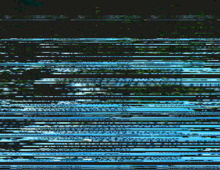 Modern glitched background illustration. Random signal error. Corrupted digital image. Array of collapsing data. Abstract contemporary print made of distorted colorful pixels. Element of design.