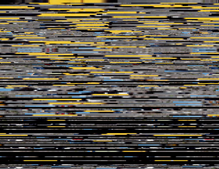 lag: Modern glitched background illustration. Random signal error. Corrupted digital image. Array of collapsing data. Abstract contemporary print made of distorted colorful pixels. Element of design.