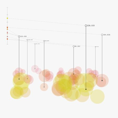 complex system: Colorful contemporary statistic visualization. Advanced big data analytics. Simple representation of complex informational system. Modern vector illustration. Element of design.