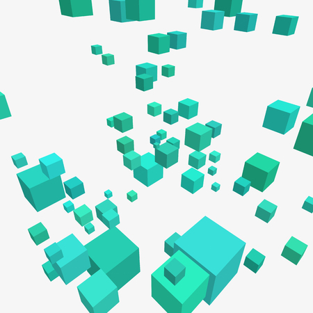 massive: Modern vector illustration with chaotic array of colorful cubes. Soaring rectangular 3d shapes on a bright background. Random geometric composition with square blocks. Element of contemporary design.