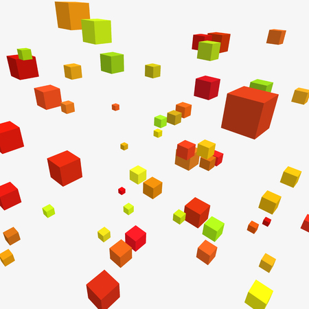Modern illustration with chaotic array of gray cubes. Random geometric composition with square blocks.