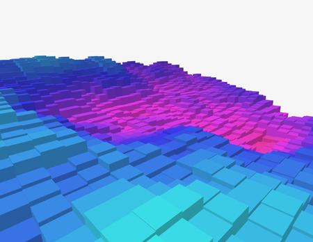 Colorful 3d voxel landscape. Heatmap surface made of rectangular blocks. Cubical model of futuristic game terrain. Ilustrace