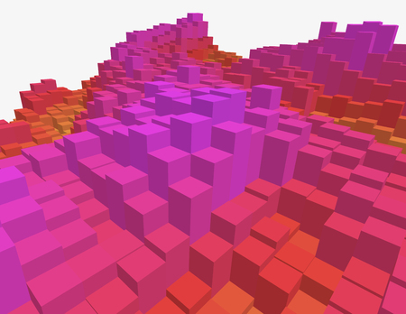 Colorful 3d voxel landscape. Heatmap surface made of rectangular blocks. Cubical model of futuristic game terrain. Illustration