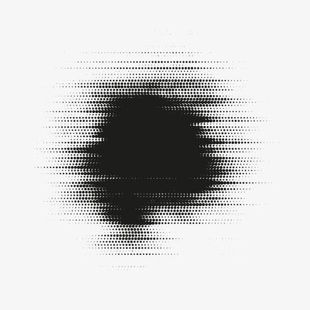 Glitched 벡터 하프 톤 얼룩입니다. 검은 얼룩은 둥근 입자로 만들었습니다. 일러스트