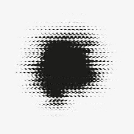 Glitched vector halftone stain. Black blot made of round particles. 向量圖像