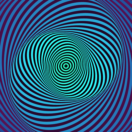 Colorful hypnotic psychedelic spiral. Modern vector illustration with optical illusion.