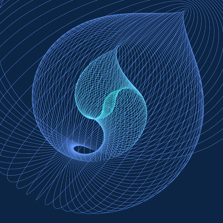 Modern abstract vector illustration. Colorful digital futuristic linear shape. Illustration