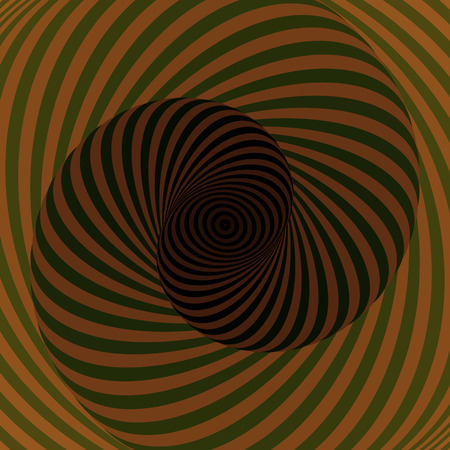 Colorful hypnotic psychedelic spiral. Modern vector illustration with optical illusion. Twisted striped round tunnel. Magical decorative background. Element of design. Illustration