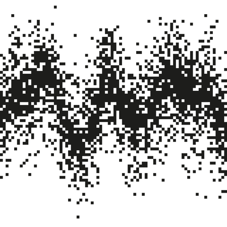 Modern simple pixel art vector illustration with digital audio visualization. Monochrome decorative curved sound wave. Computer analysis of radio frequencies. Element of design. Illustration