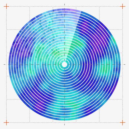 geolocation: Modern decorative technical vector illustration. Visual thermal navigation system. Colorful round heatmap. Image of working radar. Vivid scientific background. Element of design. Illustration