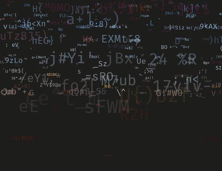 현대 벡터 일러스트 레이 션의 기호로 배열합니다. 추상 ascii 배경입니다. 암호화 된 데이터의 흐름. 사설 네트워크의 강력한 해킹. 무작위 신호 오류.