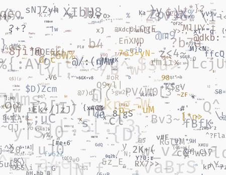 Modern vector illustration with array of symbols. Abstract ascii glitch background. Flow of encrypted data. Brute force hacking of a private network. Random signal error. Element of design.