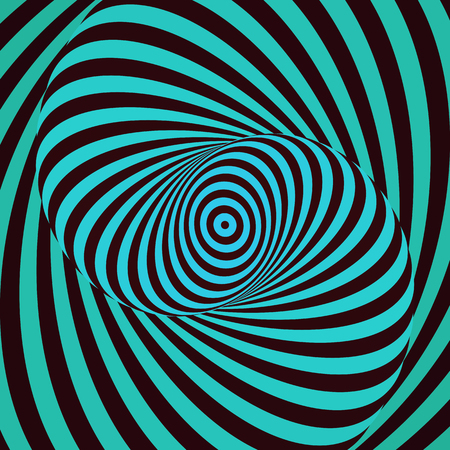 Colorful hypnotic psychedelic spiral. Modern vector illustration with optical illusion. Twisted striped round shape. Magical decorative background. Element of design.
