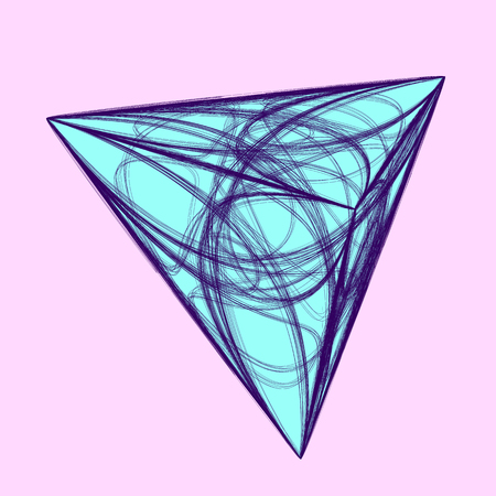 Light blue 3d shape on pink background. Textured magical pyramid with chaotic outline.