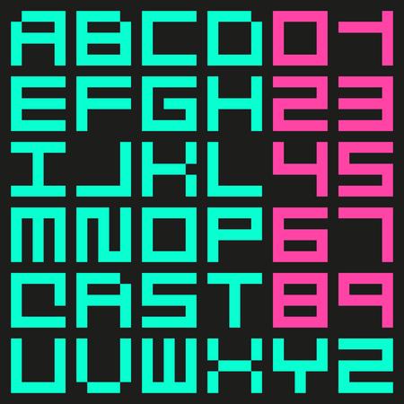 Minimalist rectangular pixel vector font. Ilustrace