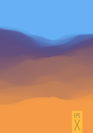 Colorful fluid dynamic wavy structure. Smooth gradient surface. Modern abstract illustration. Pale transparent desert. Orange digital hills. Phone screen background wallpaper. Element of design. Illustration