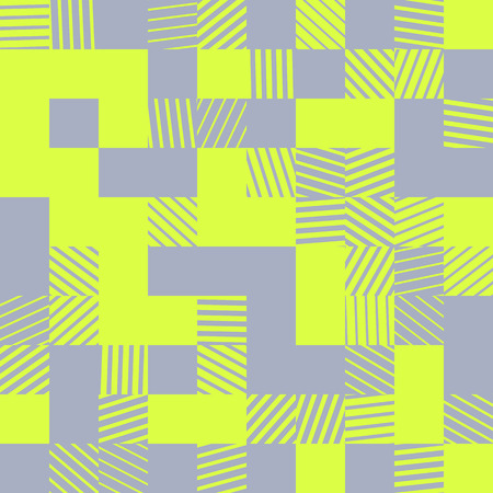 Modern abstract geometric vector background. Trendy vivid fashionable texture. Rectangular colorful seamless pattern with random striped blocks. Element of design.