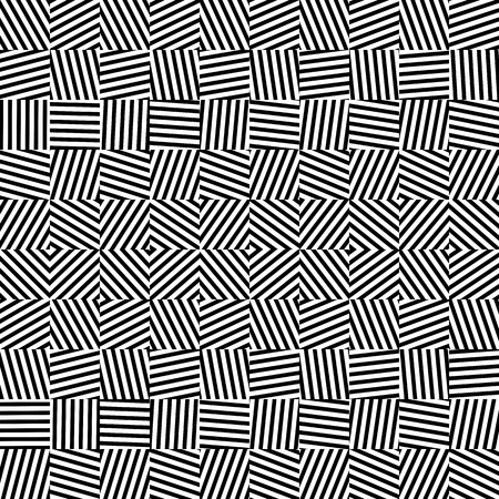 Modern abstract geometric vector background. Trendy monochrome fashionable texture. Rectangular black and white seamless pattern with random striped blocks. Element of design.