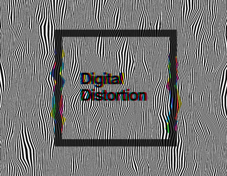 Black and white psychedelic sharp wavy background with colorful glitch rectangular frame. Random digital signal distortion. Modern abstract contemporary vector illustration. Element of design. Ilustrace