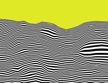 Wavy linear psychedelic black and white procedural terrain. Striped digital extraterrestrial landscape. Trendy sharp cybernetic hills. Modern vector background illustration. Element of design. Ilustrace
