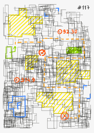 Conceptual image of architectural grid. Modern colorful hand drawn vector illustration. House project sketch. Complex schematic abstract urban plan. Template for a poster. Element of design.