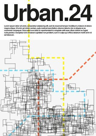 Conceptual image of urban communication grid. Modern geometric vector illustration. Simple schematic abstract city plan. Template for a poster. Element of design.