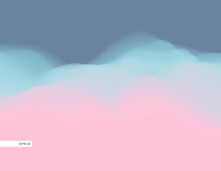 Colorful fluid dynamic wavy structure. Soft smooth gradient surface. Modern abstract illustration. Pale mild clouds. Flowing digital vapor. Futuristic background wallpaper. Element of design.
