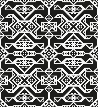 Modern abstract black and white geometric seamless pattern. Eternal ornament in traditional ethnic style. Ornate illustration with vintage motives. Contrast graphic texture. Element of design.