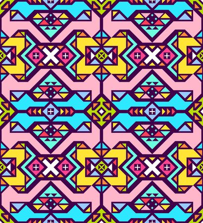 Modern abstract colorful geometric seamless pattern. Eternal ornament in traditional ethnic style. Ornate illustration with vintage motives. Contrast graphic texture. Background element of design.