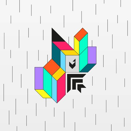 Modern abstract colorful geometric shape. Vivid isometric figure with optical illusion. Decorative contrast vector illustration. Element of trendy design.