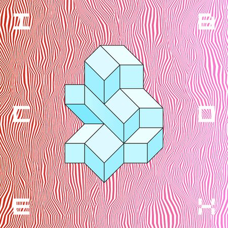 Modern abstract colorful illustration. Vivid wavy hypnotic background with isometric surreal ice cube. Decorative contrast vector geometric shape. Element of trendy design.
