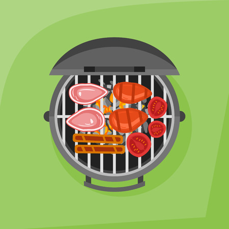 Barbecue and grilled steak, sausage and tomato.