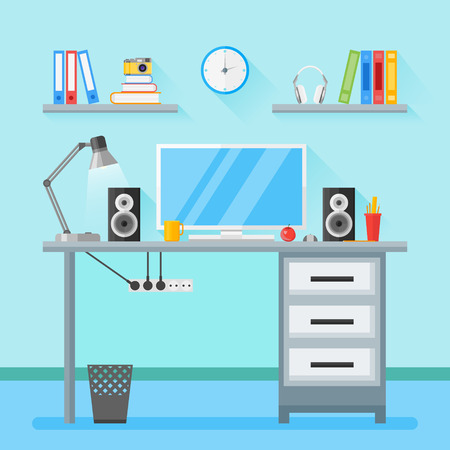 Modern workplace in room. Home workspace with objects, equipment. Flat style illustration with long shadow. Illustration